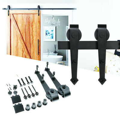 6.6Feet  Wall Mount Floor Bottom Guide Sliding Barn Door Stay Roller Hardware