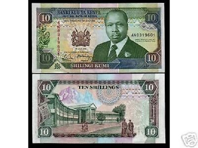 Kenya 10 Shillings P24 C 1991 Moi Mountain Unc Bank Note Bundle Lot X 10 Pcs