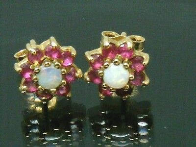 9ct Gold 9K Gold Opal and Ruby Cluster Earrings