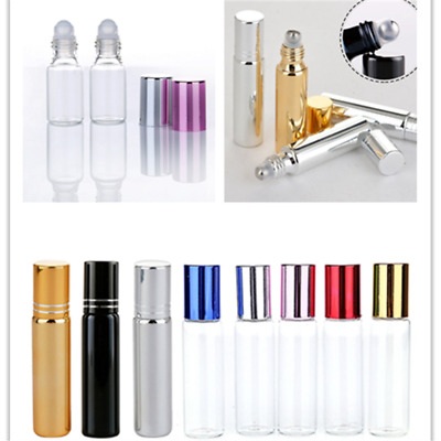 5/10ml Roll On Glass Amber Bottle Essential Oil Liquid Metal Roller Ball Tools