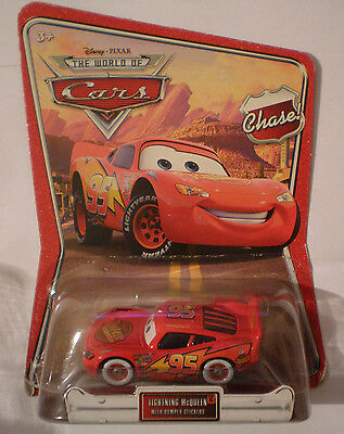 Disney Pixar Modellino Cars Lightning Mcqueen 35 With Bumper Stickers Chase