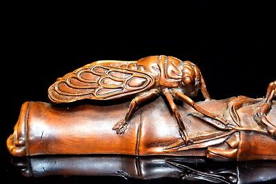 Ancient Old big Boxwood Handwork Cicadas Climb Bamboo Collectible Statue