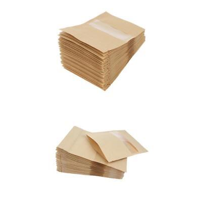 100Pcs Kraft Paper Bag Pouch Stand Up Food Zip Lock Packaging w/Window 2Size
