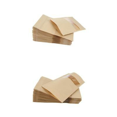 100X Kraft Paper Bag Pouch Stand Up Food Zip Lock Packaging w/ Window 2 Size