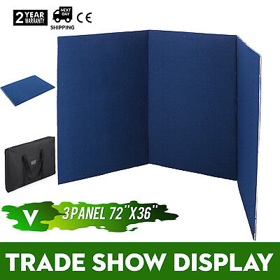 72 x 36 3 Panel Tabletop Display Presentation Board W/ Carry Bag Vecro Blue