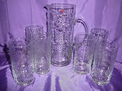 Nordic Water Set Glasses Jug 7 Piece Handmade Glass New in Box