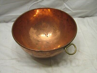 Vintage Copper Confection Candy Making Heavy Mixing Bowl w/Ring Kitchen Tool