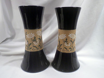 Pair Antique English Tapestry Pottery Vases; circa 1880; Daisy Band, Cobalt Blue