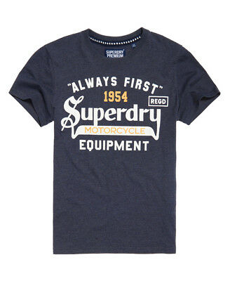 New Mens Superdry Always First T-Shirt Midnight Marl