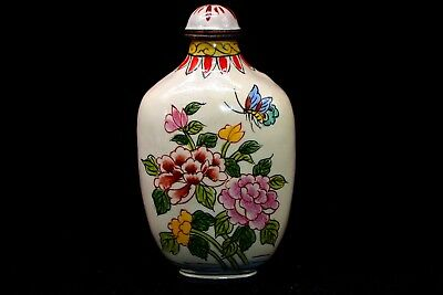 Collectible Rare Chinese Cloisonne Hand Painted Mandarin Duck NICE Snuff Bottle