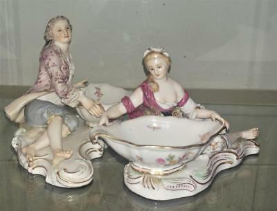Pair of Superb Antique Meissen Porcelain Reclining Figural Salts C 1815+