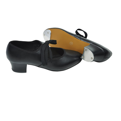 Tappers & Pointers Black Pu Cuban Tap Shoes With Toe & Heel Taps Ttp-Ptc/P