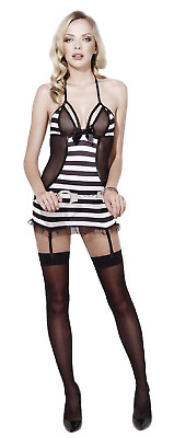 052b15dff3a Ladies Fever Sexy Black White Prisoner Bad Girl Role Play Lingerie UK 8-18