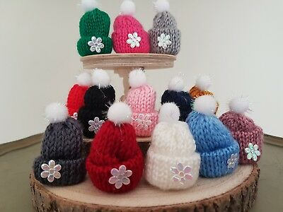 BOBBLE HAT Miniature knitted wooly beanie 1:12th scale dolls house UK UH10