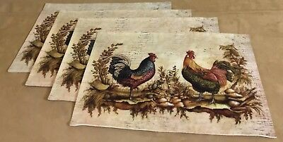 Four Kitchen Placemats, Roosters, Leaves, Nuts, Ecru, Brick Red, Beige, Brown