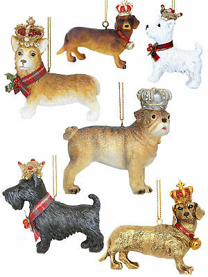 Gisela Graham Corgi Scottie Dachshund Christmas Tree Decoration Xmas Dog Crown