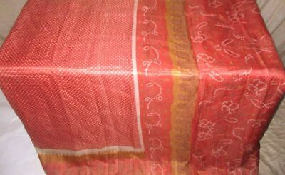 Peach Pure Silk 4 yard Vintage Sari Saree Free Decoration on sale Varied #9A21L