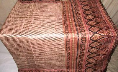 Cream Black Pure Silk 4 yd Vintage Antique Sari Saree authorised dealer #9A21M