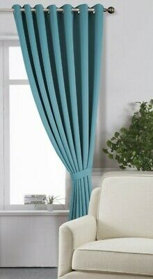 Extra Wide 285cm Eyelet Blackout Curtains with 275cm Drop and Matching Tiebacks