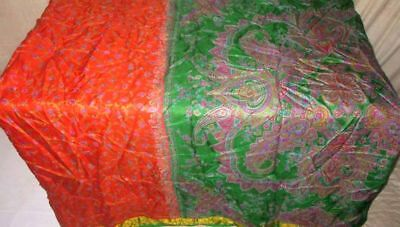Orange Green Pure Silk 4 yard Vintage Sari Saree Dresses photo Shop Cloth #9A22P