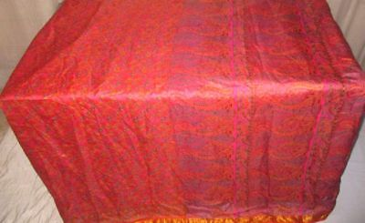 Orange Peach Pure Silk 4 yard Vintage Sari Saree Beautiful Girly Spain UK #9A23T