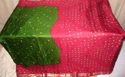 Green Maroon Pure Silk 4 yd Vintage Antique Sari Saree daily new items NR #9A249