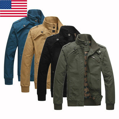 US Men Fall Autumn Winter Warm Jackets Coat Stand Collar Casual Quilted Jackets