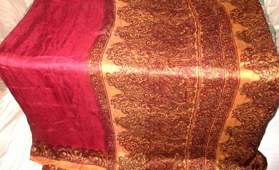 Maroon Coffee Pure Silk 4 yard Vintage Sari Saree SALE DEAL Sheet Home NR #9A27W