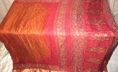 Brown Maroon Pure Silk 4 yard Vintage Sari Indian Women's rabatt Market #9A283