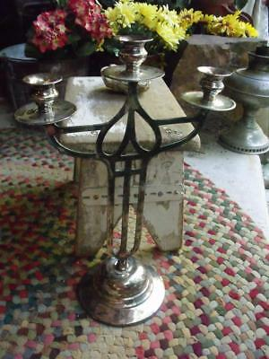 Lovely Vintage Arts & Crafts Silver Plate Candelabra Cast Iron Weighed Base A Mk