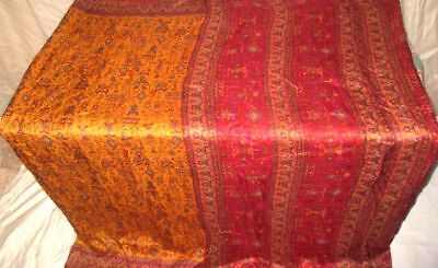 Golden Maroon Pure Silk 4 yd Vintage Antique Sari Saree Costumes Beauty #9A28B