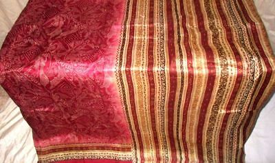 Maroon Cream Pure Silk 4 yard Vintage Sari Saree Festive www. Fashionable #9A28I