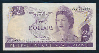 """New Zealand: 1977 $2 Hardie QEII RARE DOUBLE LUCKY NOS """"55"""" & """"999"""". P164d EF"""