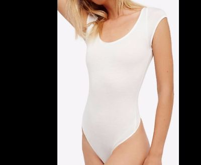 Free People OB580647 All About The Back Lace-Up Bodysuit Top White Size S cd55b170b