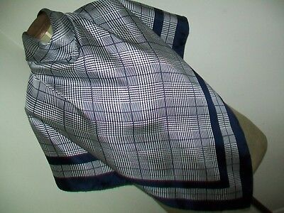 Beckford Silk. Very Smart Houndstooth Check Design Vintage Silk Scarf