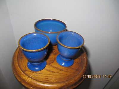 2 Denby Imperial Blue Egg Cups and SMALL sugar bowl