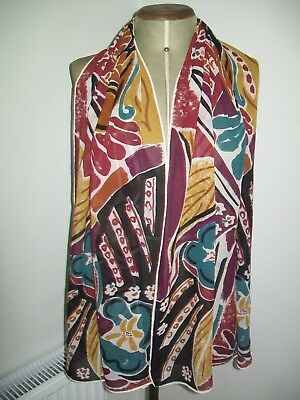 Large & Stunning Abstract Design Vintage Silk Scarf. Incredible Colours !