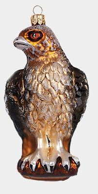 Red Tailed Hawk Bird Polish Mouth Blown Glass Christmas Ornament