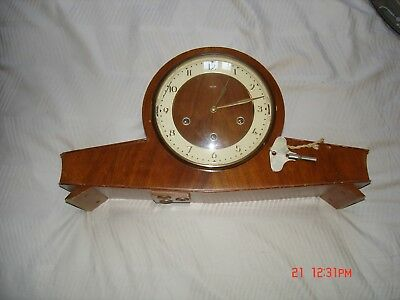 An Old Smiths Wind Up  Chime Mantle Clock. Balance Escapement With Key