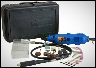 WEN Variable Speed Corded Rotary Tool Kit 80 Piece Accessory Set Flex Shaft Case