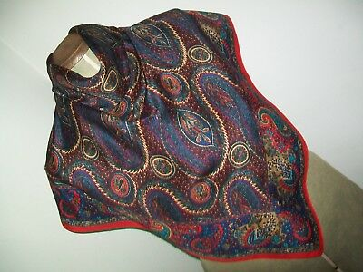 Art Of The Scarf. Bright & Vibrant Classic Paisley Design Vintage Silk Scarf