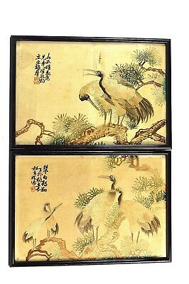 VINTAGE CHINESE CRANE PICTURES PAIR EMBROIDERED SILK 34.5 x 24