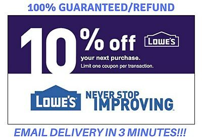 TWO (2X) Lowes 10% OFF2Coupon Lowe's InStore/Online IN _1 Min Delivry_ EXP/09/30