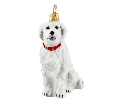 Snowy Great Pyrenees Mountain Dog Polish Blown Glass Christmas Ornament