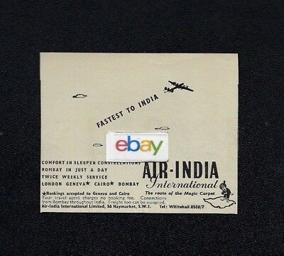 Air India 1949 Fastest To India From London Lockheed Constellation Ad