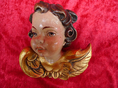 Hermosa, Antiguo Figura de Madera __ Ángel __ Putt ( Putto ) _