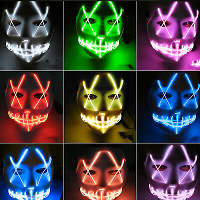 LED Glühend leuchtet EL Wire Halloween Party Horror Maske Kostüm Purge Karneval