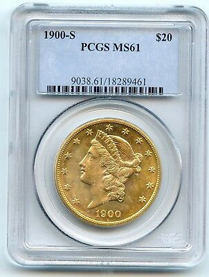 1900-S $20 Liberty Head Gold Double Eagle (MS 61) PCGS TOUGH COIN TO FIND!!