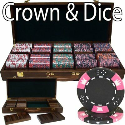 500ct. Crown & Dice 14g Poker Chip Set in Walnut Wooden Carry Case