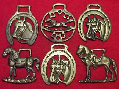 Collection of 6 x Vintage Cast Horse Brasses all of Different Horse Designs